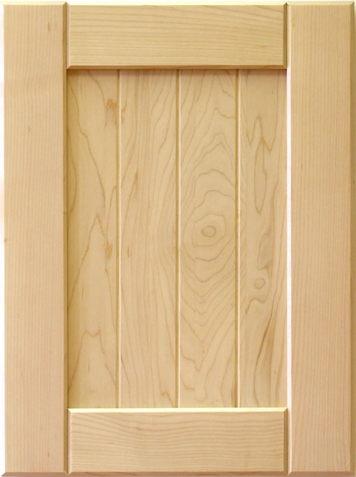 Mission shaker cabinet door with V-groove panel in maple